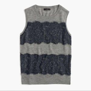 J. Crew Wool Jackie Sweater Vest Gray Navy Lace XL